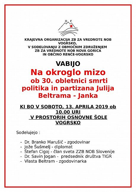 Vabilo Vogrsko - 2019 april-1